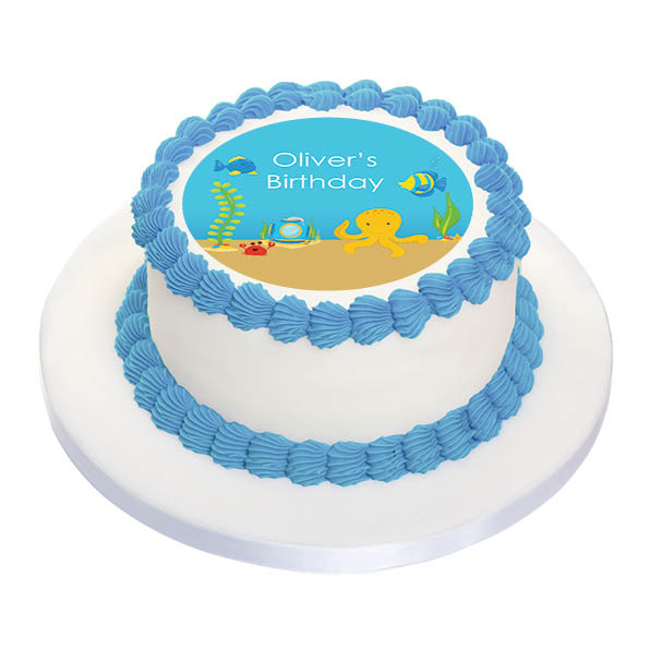Sea Creatures Party Personalised Birthday Cake Icing