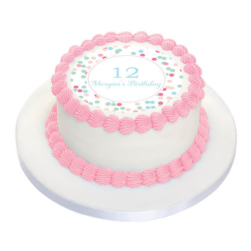 Pink & Aqua Confetti Party Personalised Birthday Cake Icing.