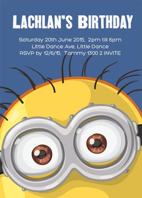 Minion Inspired Party Invitation.