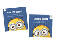 Square Minion Party labels and stickers.