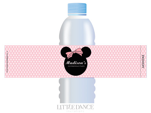 Minnie Mouse inspired water bottle labels