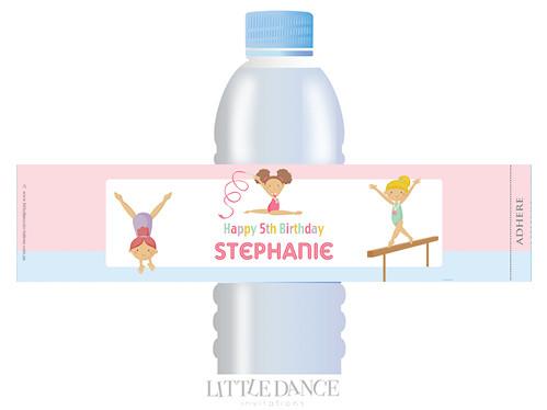 Girls Gymnastics Personalised Water bottle labels.