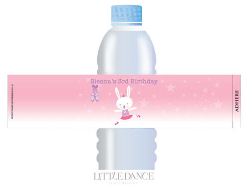 Ballet Bunny Personalised Waterbottle Labels.