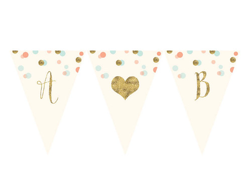 Gold glitter, mint and peach personalised party bunting