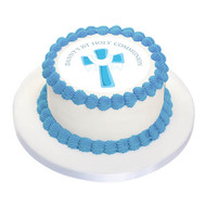 First Holy Communion Cake Edible Image - Blue Cross
