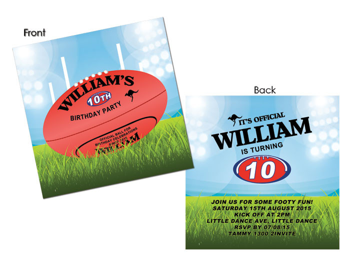 AFL Football Party Invitations