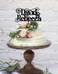 Swirl Custom Names Wedding or Engagement Cake Topper - Two Names Personalised Wedding or Engagement Cake Decoration