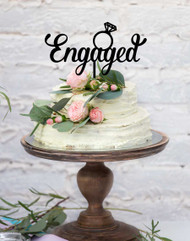 Engaged with Ring Acrylic Cake Topper