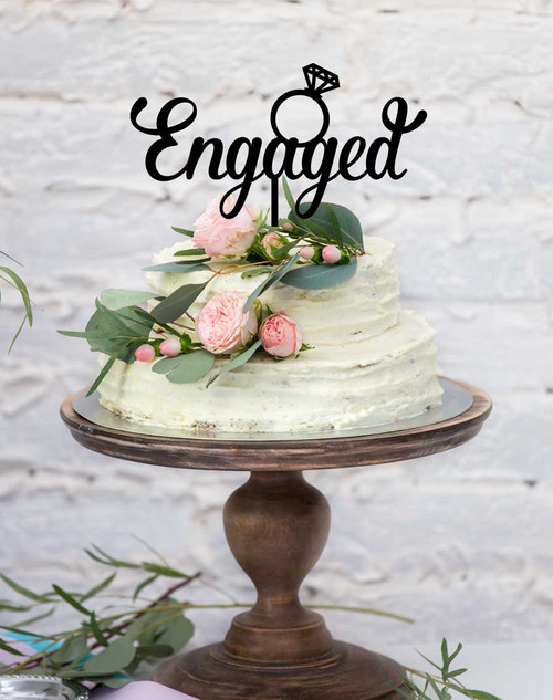 Engaged with Ring  Wedding Cake Topper - wedding cake decoration