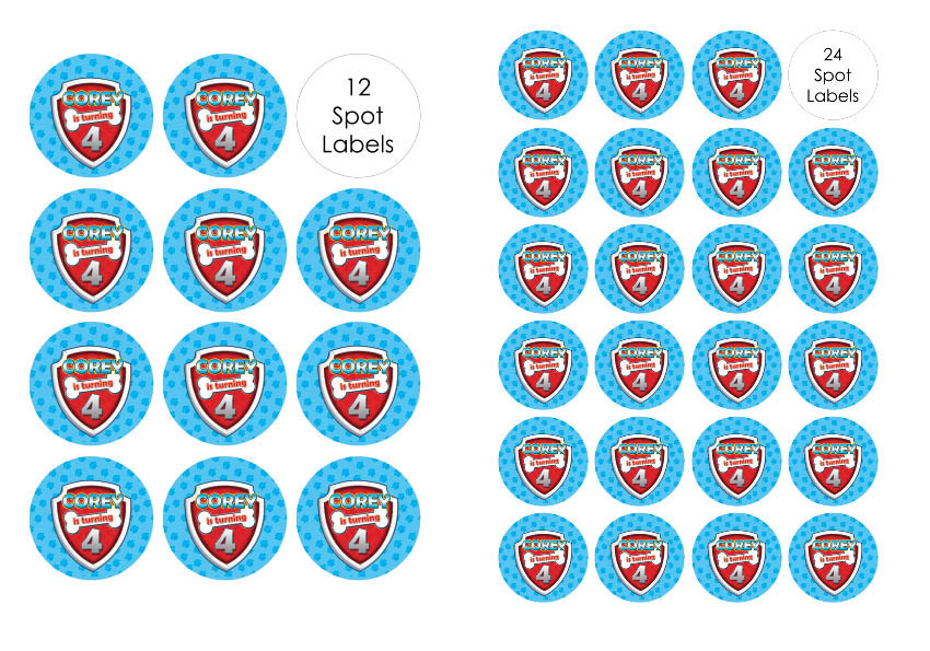 18 x Personalised PAW PATROL Party bag seal stickers