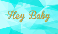 Teal & Gold Glitter Personalized & custom Hey Baby party banner for sale. Your message and text. Buy online