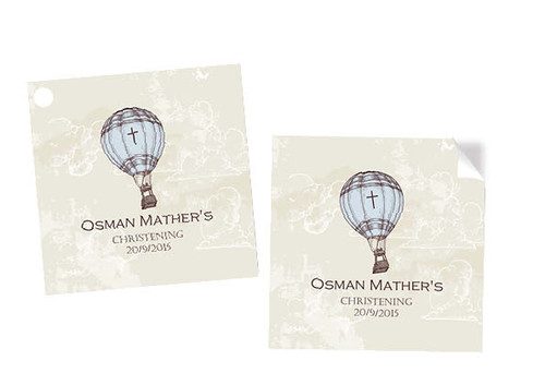 Vintage Hot Air Balloon Square Stickers & Tags