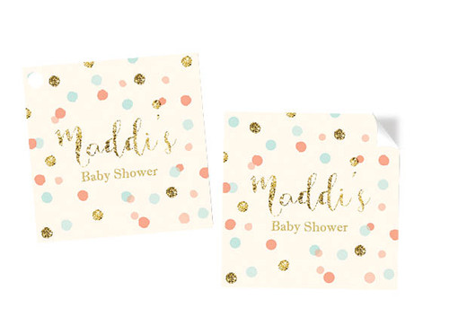 Gold Glitter, Mint & Peach Confetti Square Personalised Stickers, Labels and Tags.