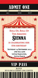 Vintage Circus Carnival ticket invitations