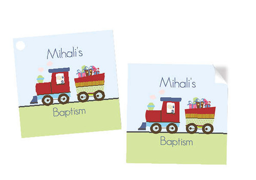 Baptism Train themed square tags and stickers