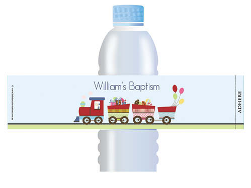 Train themed personalised water bottle labels for Christenings and Baptisms.