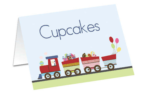 Train themed personalised placecards, buffet cards or gift cards.