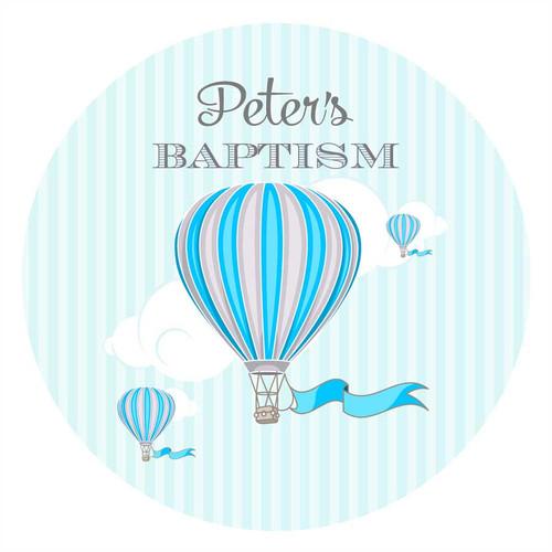 Blue Hot Air Balloon Circle Stickers