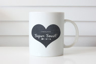 Chalkboard Love  heart mug - - Valentines or Mothers Day Gift Coffee Cup