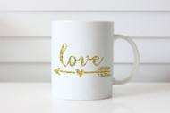 Golden Love Arrow Coffee Mug - Valentines or Mothers Day Gift Coffee Cup