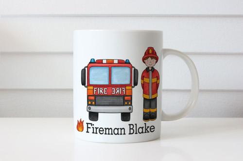 Personalised Fireman Firetruck Kids Name Mug - Sent from Melbourne Australia