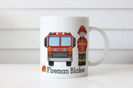 Personalised Fireman Firetruck Kids Name Mug - Sent from Melbourne Australia