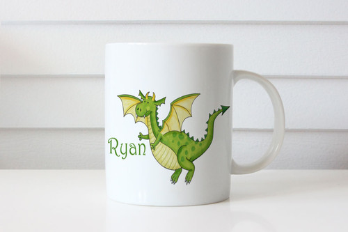 Green Dragon Childs Name Personalised Mugs - Sent from Melbourne Australia