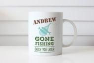 Personalised Coffee Mug or Name Mug - Gone Fishing - Gift Coffee Cup With Name