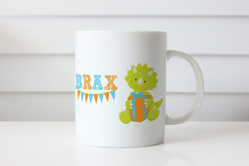 Personalised coffee mug featuring a cute baby dinosaur and your name. Made in Melbourne Australia