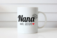 Personalised coffee mug for Nana featuring the year and her name. Made in Melbourne Australia