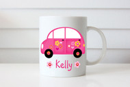 Custom Personalised coffee mug featuring a cute hot pink Love Bug Volkswagen and your name. Made in Melbourne Australia