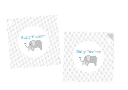 Blue Baby Elephant Baby Shower Labels Stickers and Tags - Personalised and printed in Melbourne Australia