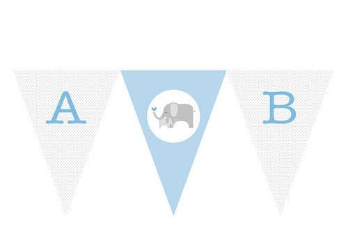 Blue baby elephant custom party bunting flags