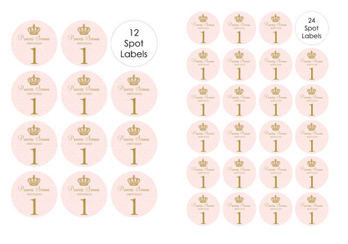 Pink & Gold Princess themed party spots labels and stickers