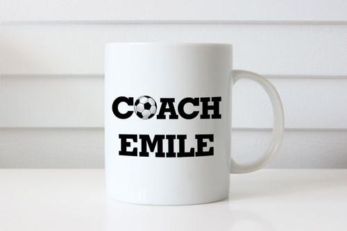 Soccer Coach Coffee Mug - Name mug or cup personalised gift. Melbourne Australia