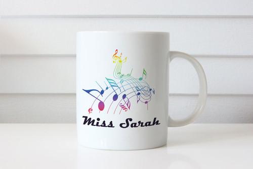 Musical notes personalised custom name coffee mugs