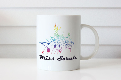 Musical notes personalised custom name coffee mugs - Gift coffee cup for musician - Melbourne Australia
