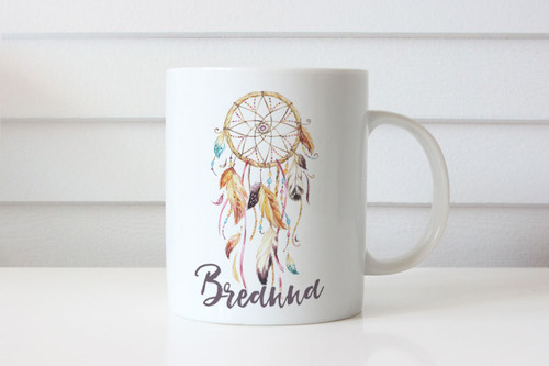 Personalised Dreamcatcher Coffee Name Mug  - Custom Coffee Cup With Dreamcatcher Picture