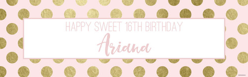 Sweet 16 Pink & Gold Party Banner  - Personalised sweet 16th birthday banners printed in Melbourne Australia
