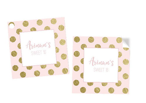 Pink & Gold Sweet 16 Party Tags and Labels