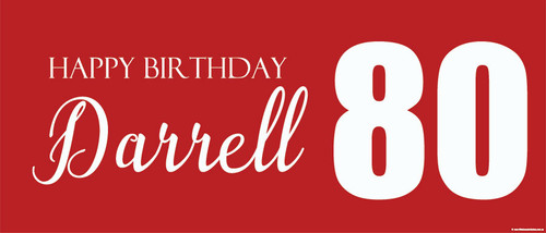 Birthday party banner printed with age and name. This banner is an example of an 80th birthday banner