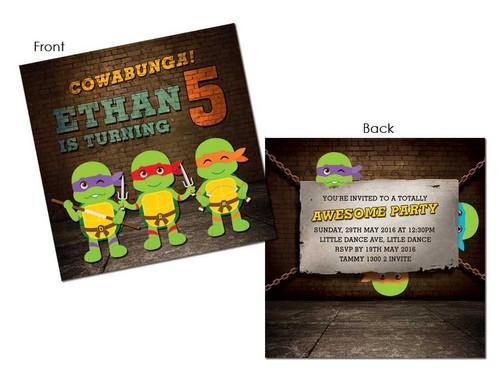 Teenage Mutant Ninja Turtles party invitations - TMNT