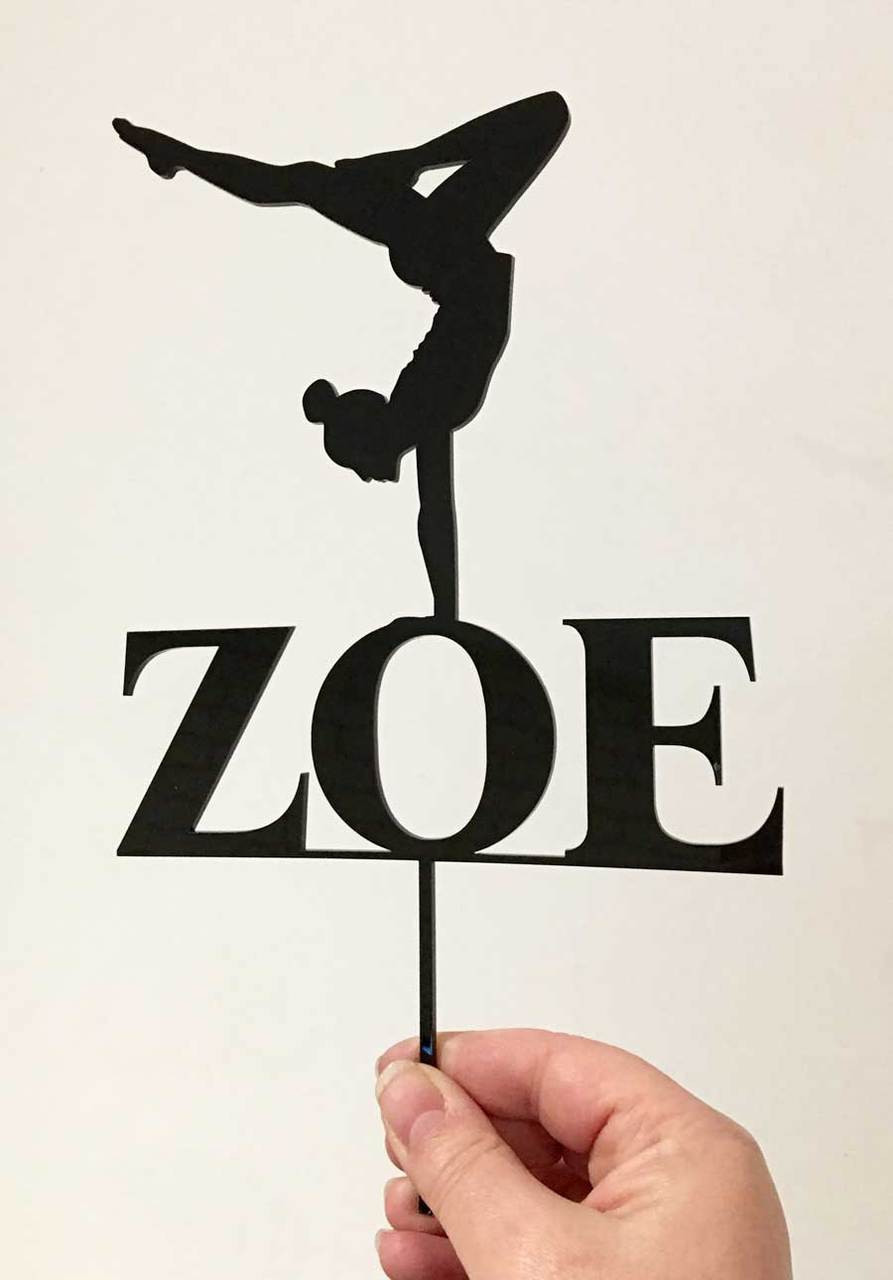 365c5fe44db2 Black Acrylic Gymnastics Personalised cake topper - birthday cake decoration