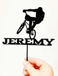 Boys BMX Birthday Cake Topper - Personalised with Name - Made in Australia
