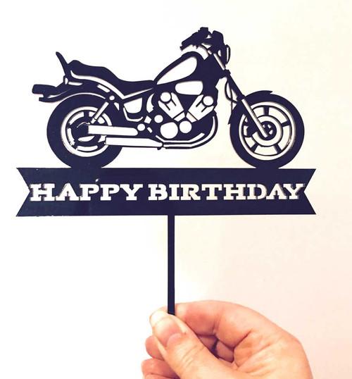 Harley inspired Motorbike or Motorcycle Happy Birthday Cake Topper Decoration