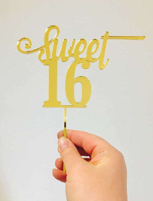 Sweet 16, Sweet Sixteen, Gold mirror cake topper decoration