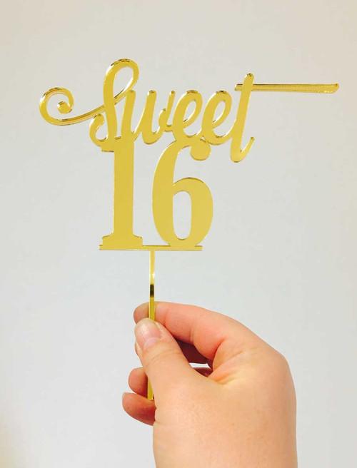 Sweet 16, Sweet Sixteenth, Gold mirror cake topper decoration