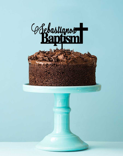 Baptism with Cross and name personalised religious or church event cake topper decoration