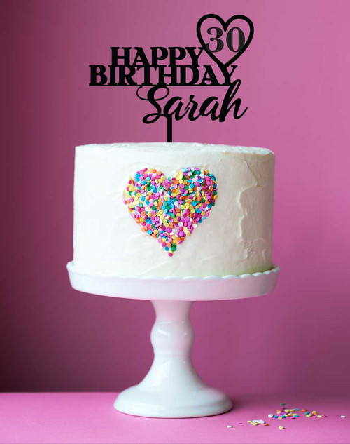 Happy Birthday with Custom Name and Age Cake Topper