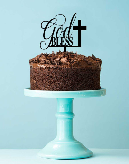 God Bless with Cross Religious Cake Topper